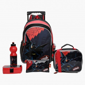 Batman Printed 5-Piece Trolley Backpack Set