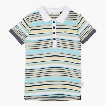 Eligo Striped Polo Neck T-shirt