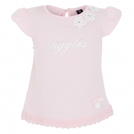 Giggles Short-sleeved T-shirt with Floral Accents