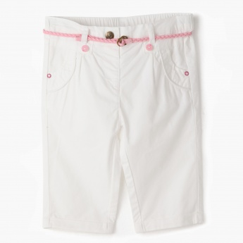 Juniors Capri Pants with Braided Belt