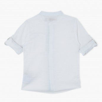 Eligo Shirt with Mandarin Collar and Short Sleeves