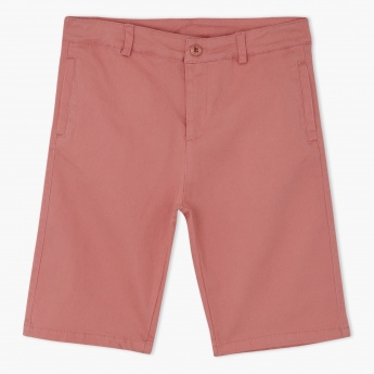 Juniors Knee Length Shorts with Zip Closure