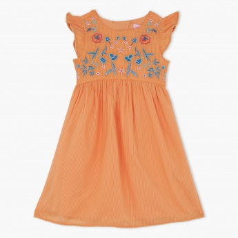 Juniors Embroidered Dress with Cap Sleeves