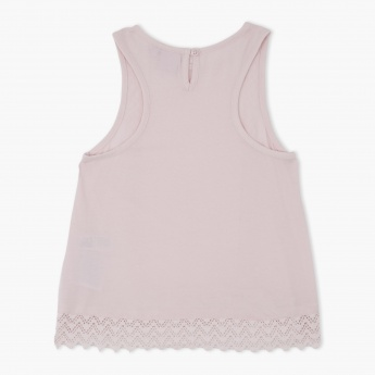 Juniors Sleeveless Lace Top with Round Neck